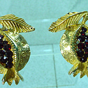 Unusual Mosell Fruit Design Clip On Earrings, 1960s.