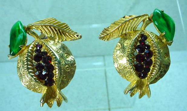 Unusual Mosell Fruit Design Clip On Earrings, 1960's.