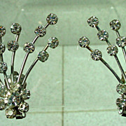 Weiss Unique Rhinestone Clip On Earrings, 1950s!