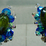 Charming Hobe Crystal Clip On Earrings, 1960�s.
