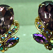 Garne Vintage Clip On Rhinestone Earrings, 1950�s.
