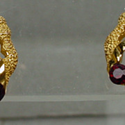 Trifari 1960s Gold Tone with Red Rhinestone Earrings, Mint!
