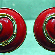 Trifari, 1960s Red Enamel, Shell Shaped Earrings.