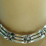 Trifari Silver Tone Link Necklace, 1950s.