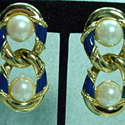 1980s Richelieu Drop Earrings with Clip On Backs, Elegant!