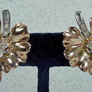 Lovely ,Trifari Gold Tone Leaf Earrings with Rhinestones, Early 1950