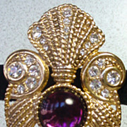Fantastic Jeff Lieb Brooch with Large Pearl Drop, 1980�s!