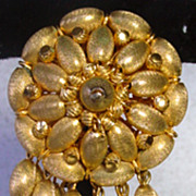 Unique, Vendome, Brushed Gold Dangle Brooch, 1960s!
