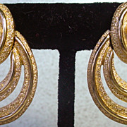 1980s Monet, Brushed Gold Multi Hoop Earrings.