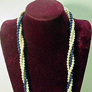 Elegant Lapis and Pearl 3 Strand Necklace, 1980s