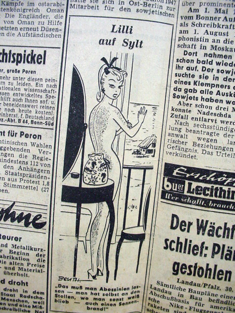 rare original german bild newspaper w bild lilli cartoon. Black Bedroom Furniture Sets. Home Design Ideas