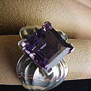 Sterling and Amethyst Ring...Unusual Setting...