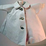 Original Madame Alexander Cissette White Faux Leather Raincoat, 1958.
