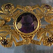 Amethyst and  Brass Brooch.... Turn of the Century
