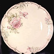 Antique Hand Painted Rose Charger or Round Platter