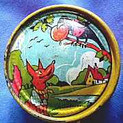 Victorian Tin Litho Toy Horn & Rattle with Anthropomorphic Animals.