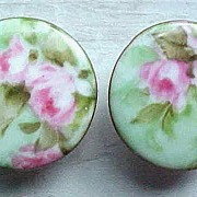 SALE Antique Hand Painted Porcelain Studs with Roses
