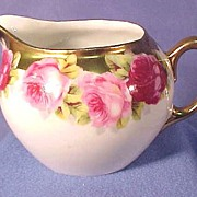 German Porcelain Creamer with Burnished Gold & Roses