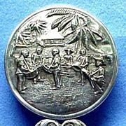 Danish Silver Purse Mirror with Embossed Caribbean Scene