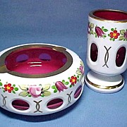 Bohemian White Cut To Cranberry Smoking Set