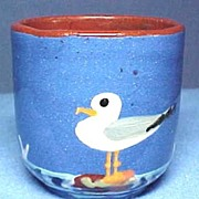 Hand Enamelled Sea Gull Egg Cup Torquay Terra Cotta