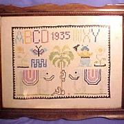 Vintage Art Deco 1935 Framed Sampler with Monkeys in a Coconut Palm
