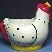 SALE Egg Cup Figural Chicken or Hen Hand Painted