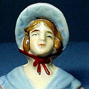 Vintage Porcelain Half Doll Brush Elbows Free