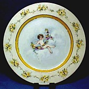 Antique Limoges Plate Hand Painted Cherub or Angel