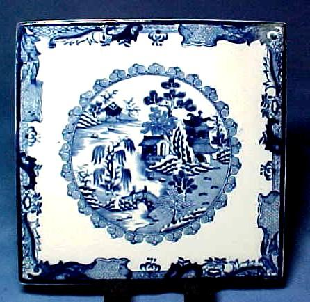 Mason's Ironstone China Blue Willow Tile Mid 1800s
