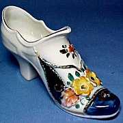 Victorian Porcelain Shoe with Relief Molded Flowers