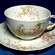 Haviland Limoges Cup and Saucer Pink Roses