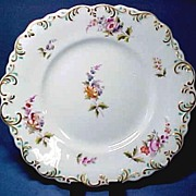 Soft Paste Porcelain Cake Plate with Hand Painted Flowers