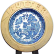 Blue Willow Butter Dish in Hand Carved Wooden Holder