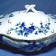 "Antique Flow Blue Covered Serving Dish ""Rose"" C1893"