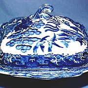Antique Flow Blue Willow Covered Dish, Fantastic