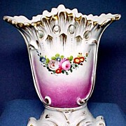 Victorian French Porcelain Vase with Hand Painted Floral Decoration