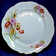 Pretty Porcelain Cake Plate with Tulips & Lilac from Poland