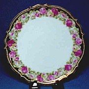 Antique Porcelain Plate with Roses and Gold Beading