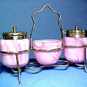 REDUCED Art Glass Cruet Set in Fantastic Streaky Mauve