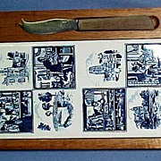 SALE Delft Teak Cheese Board with Eight Blue and White Scenes Tiles