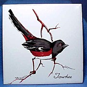 Bird Tile with Towhee Signed R. Brooks
