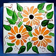 SALE Ceramic Tile Trivet with Hand Painted Daisies