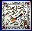 Ceramic Tile Hand Painted Bird and Flowers