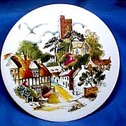 SALE English Tea Tile or  with Charming  English Village Scene