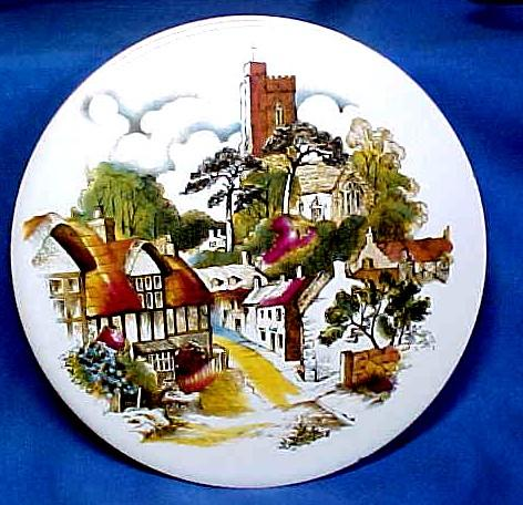 English Tea Tile or  with Charming  English Village Scene