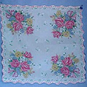 Vintage Handkerchief with Beautiful Roses