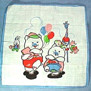 Child's Handkerchief Hanky Hankie with Anthropomorphic Animals