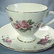 SALE Vintage English China Cup and Saucer Roses and Forget Me Nots