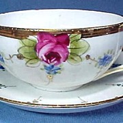 Nippon Cup and Saucer Hand Painted Roses and Forget Me Nots